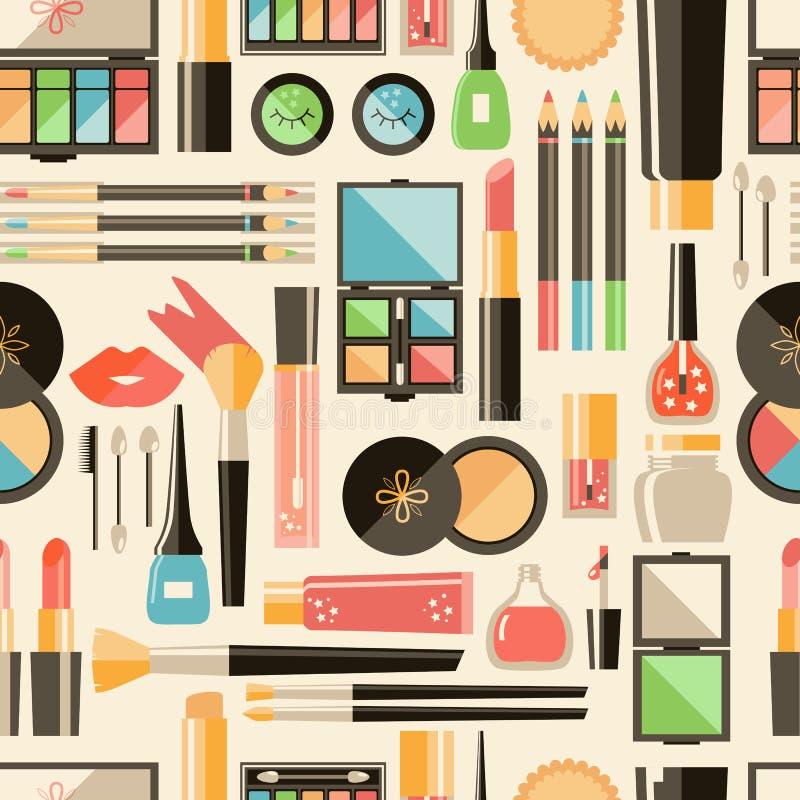 Διανυσματικό επίπεδο άνευ ραφής σχέδιο καλλυντικών Προϊόντα μόδας ομορφιάς διανυσματική απεικόνιση