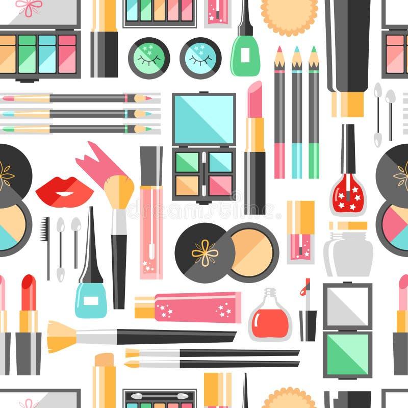 Διανυσματικό επίπεδο άνευ ραφής σχέδιο καλλυντικών Προϊόντα μόδας ομορφιάς απεικόνιση αποθεμάτων