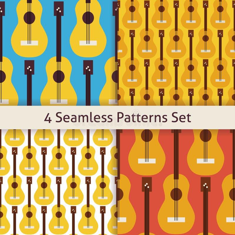 Διανυσματικό επίπεδο άνευ ραφής σχέδιο κιθάρων οργάνων μουσικής σειράς τέσσερα απεικόνιση αποθεμάτων