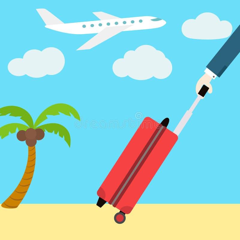 Διανυσματικό επίπεδο έμβλημα Ιστού Πηγαίνετε στις διακοπές Άτομο με το α ελεύθερη απεικόνιση δικαιώματος