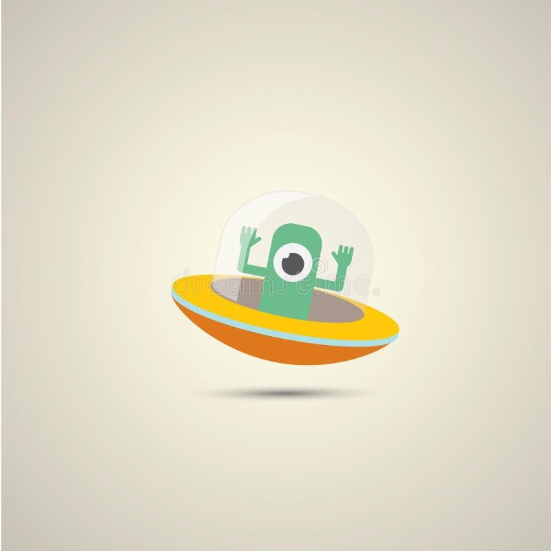 Διανυσματικό επίπεδο αστείο πορτοκαλί αλλοδαπό λογότυπο διαστημοπλοίων ελεύθερη απεικόνιση δικαιώματος