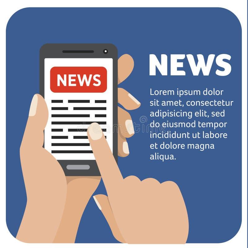 Διανυσματικό επίπεδο εικονίδιο απεικόνισης με το χέρι και κινητό τηλέφωνο με ένα smartphone διανυσματική απεικόνιση