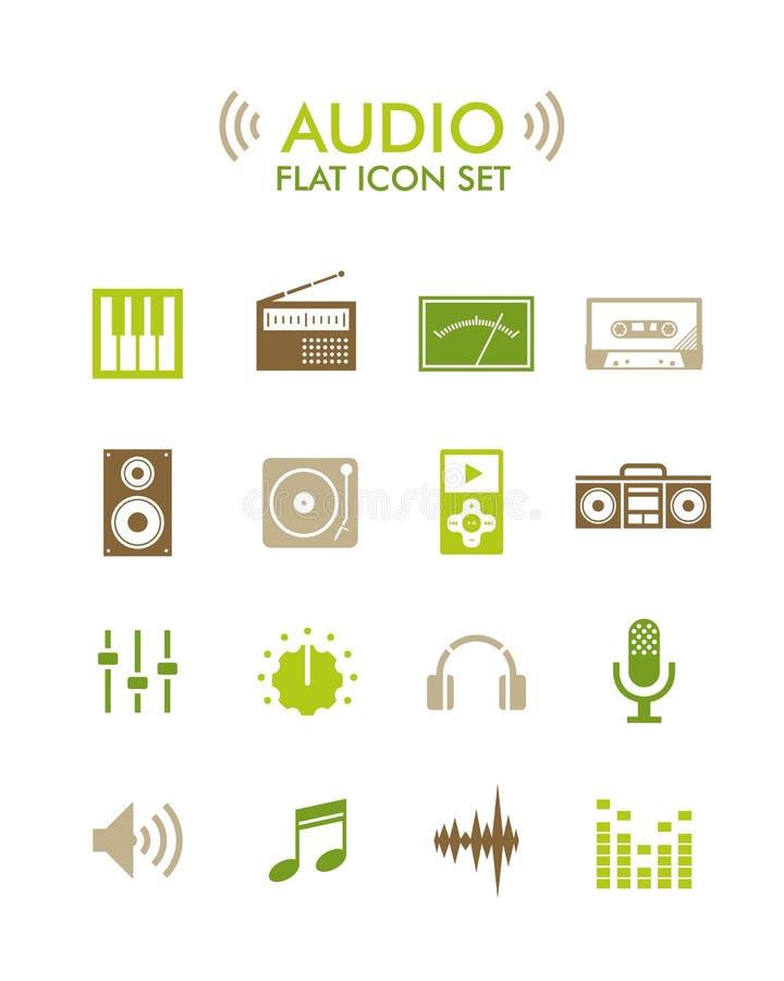 Διανυσματικό επίπεδο εικονίδιο καθορισμένο - ήχος ελεύθερη απεικόνιση δικαιώματος