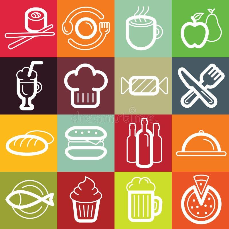 Διανυσματικό επίπεδο εικονίδιο καθορισμένο - τρόφιμα και καφές ελεύθερη απεικόνιση δικαιώματος
