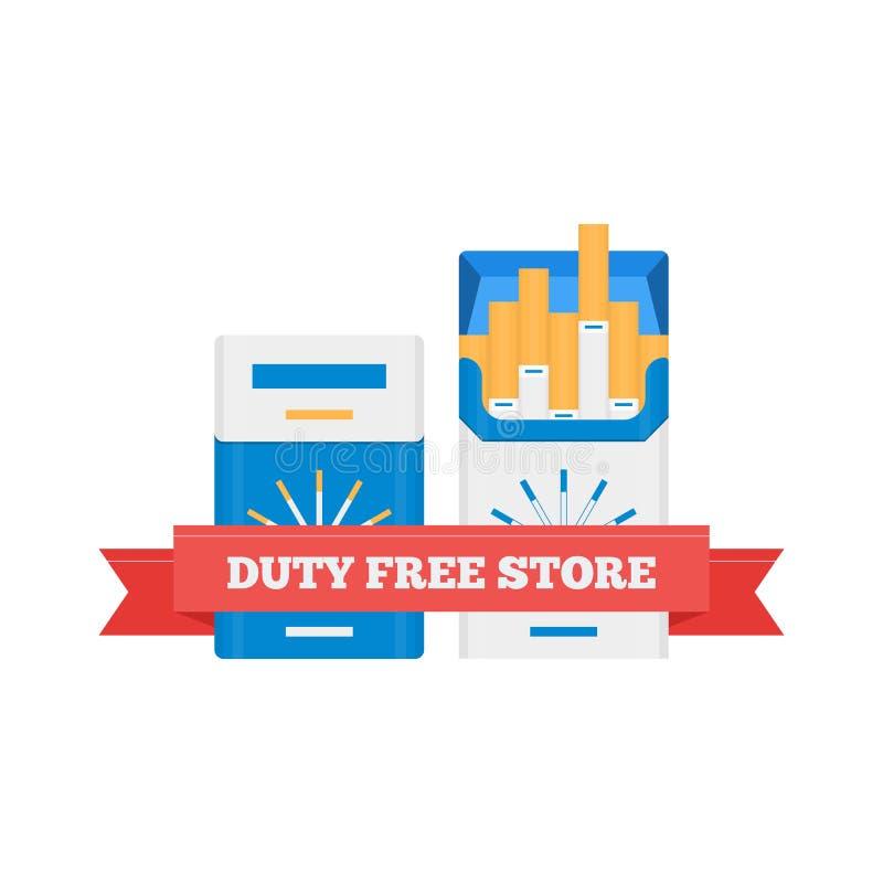 Διανυσματικό επίπεδο εικονίδιο duty free των πακέτων τσιγάρων στον αερολιμένα ελεύθερη απεικόνιση δικαιώματος