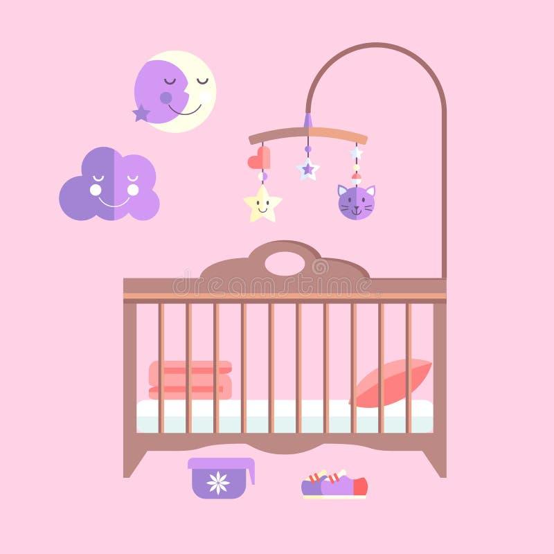 Διανυσματικό επίπεδο κρεβάτι μωρών Κρεβατοκάμαρα νηπίων με κινητό ελεύθερη απεικόνιση δικαιώματος