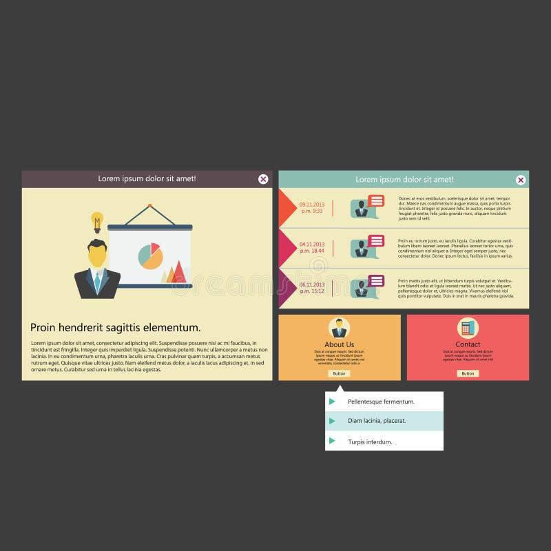 Διανυσματικό επίπεδο πρότυπο/σχέδιο ενδιάμεσων με τον χρήστη (UI) infographic απεικόνιση αποθεμάτων
