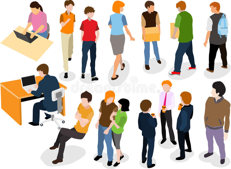 Διανυσματικό επίπεδο σχέδιο ανθρώπων που απομονώνεται στο άσπρο υπόβαθρο ελεύθερη απεικόνιση δικαιώματος