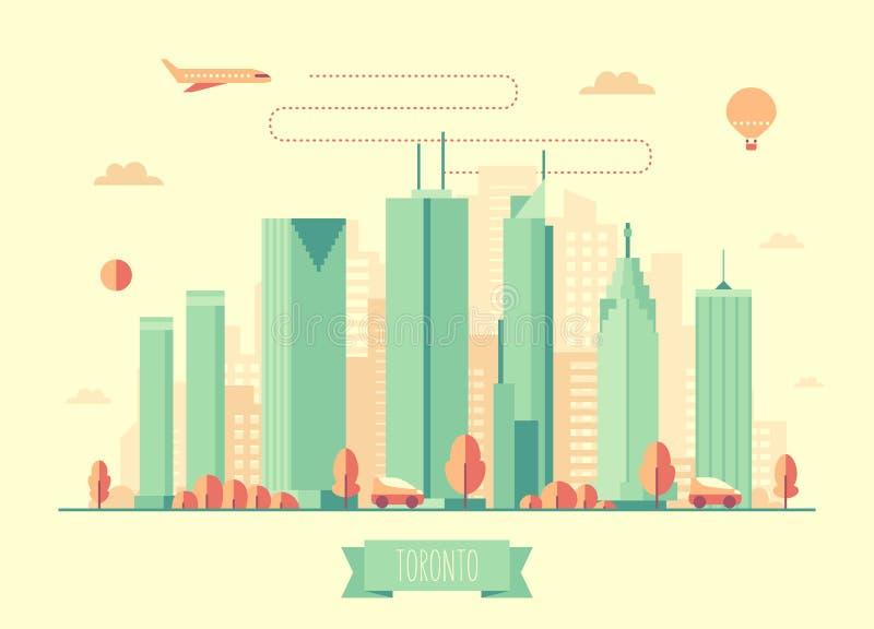 Διανυσματικό επίπεδο σχέδιο αρχιτεκτονικής οριζόντων του Τορόντου ελεύθερη απεικόνιση δικαιώματος