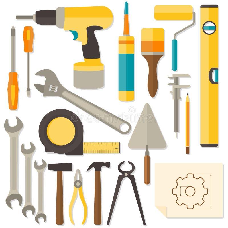 Διανυσματικό επίπεδο σχέδιο DIY και εργαλεία εγχώριας ανακαίνισης στοκ εικόνες με δικαίωμα ελεύθερης χρήσης
