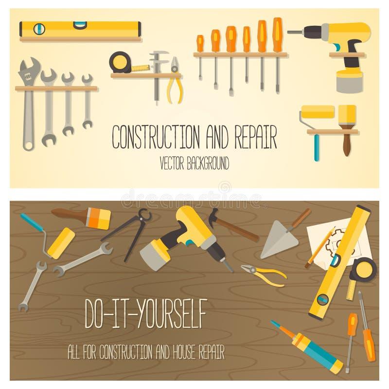 Διανυσματικό επίπεδο σχέδιο DIY και εργαλεία εγχώριας ανακαίνισης ελεύθερη απεικόνιση δικαιώματος