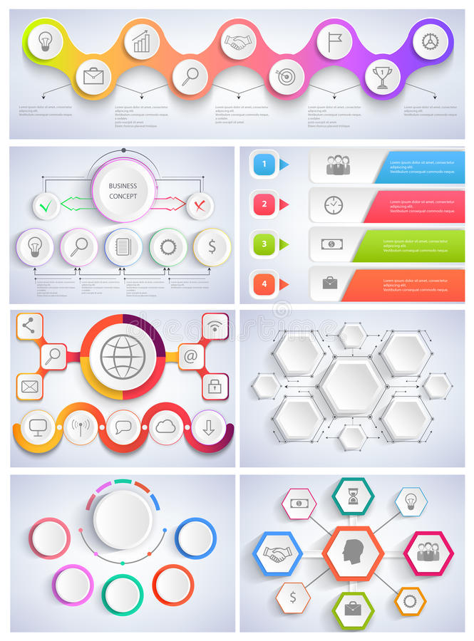 Διανυσματικό επίπεδο σχέδιο Infographics απεικόνισης καθορισμένο ελεύθερη απεικόνιση δικαιώματος