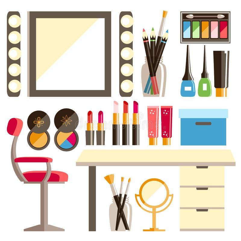 Διανυσματικό επίπεδο σύνολο εργασιακών χώρων εργαζομένων s Makeup Καθρέφτης, διακοσμητικός ομο διανυσματική απεικόνιση