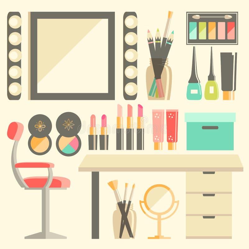 Διανυσματικό επίπεδο σύνολο εργασιακών χώρων εργαζομένων s Makeup Καθρέφτης, διακοσμητικός ομο απεικόνιση αποθεμάτων