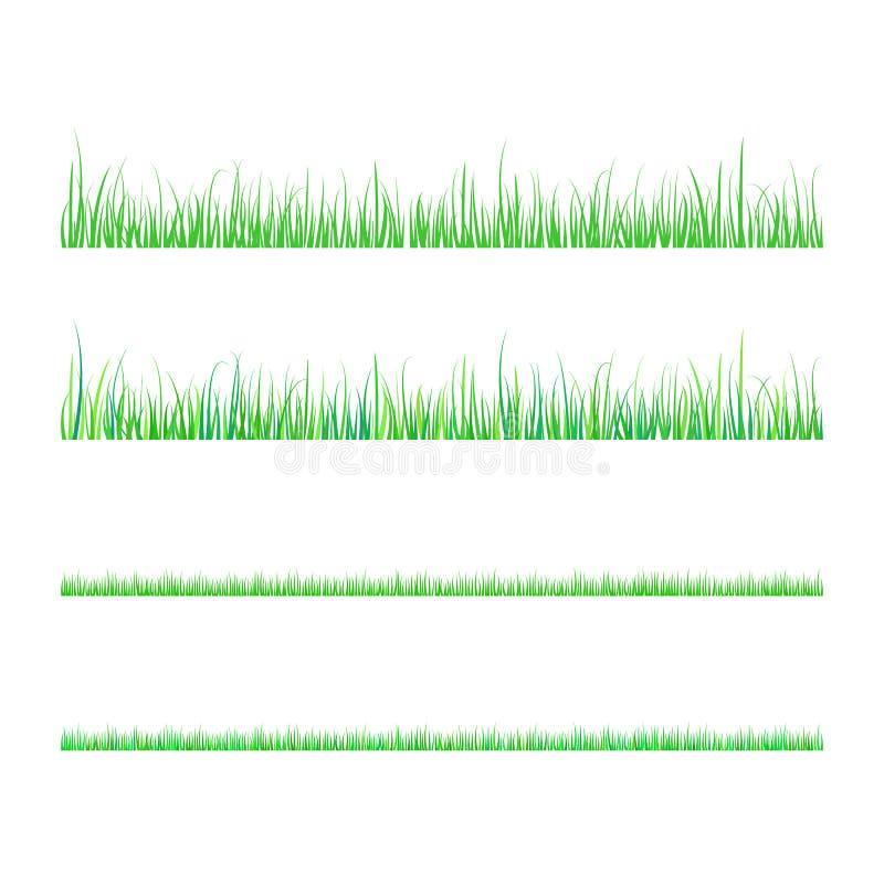 Διανυσματικό επίπεδο σύνολο χλόης που απομονώνεται στο άσπρο υπόβαθρο απεικόνιση αποθεμάτων