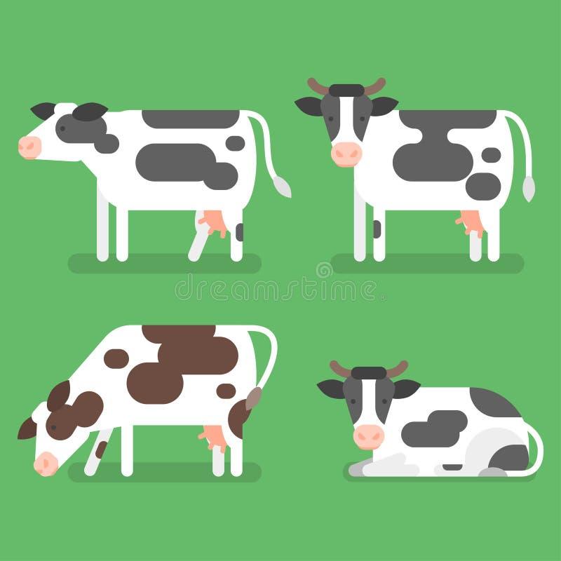 Διανυσματικό επίπεδο σύνολο ύφους αγελάδας Στην πράσινη ανασκόπηση ελεύθερη απεικόνιση δικαιώματος