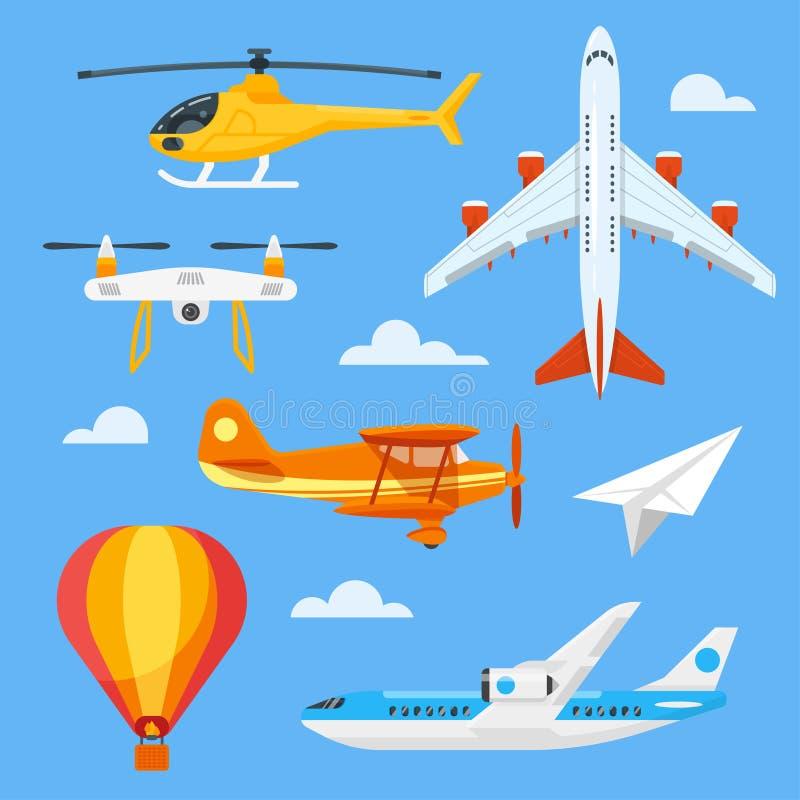 Διανυσματικό επίπεδο σύνολο ύφους ζωηρόχρωμων αεροπορικών μεταφορών ελεύθερη απεικόνιση δικαιώματος