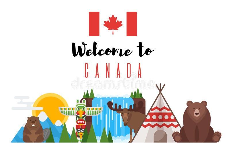 Διανυσματικό επίπεδο σύνολο ύφους καναδικών εθνικών αντικειμένων διανυσματική απεικόνιση