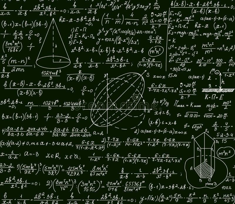 Διανυσματικό επιστημονικό τεχνικό άνευ ραφής σχέδιο Math με τους χειρόγραφους τύπους, υπολογισμοί, πλοκές, σημάδια, εξισώσεις διανυσματική απεικόνιση