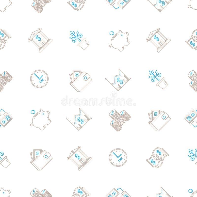 Διανυσματικό επιχειρησιακό άνευ ραφής υπόβαθρο με τα σημάδια και τα σύμβολα στο μονο ύφος γραμμών διανυσματική απεικόνιση