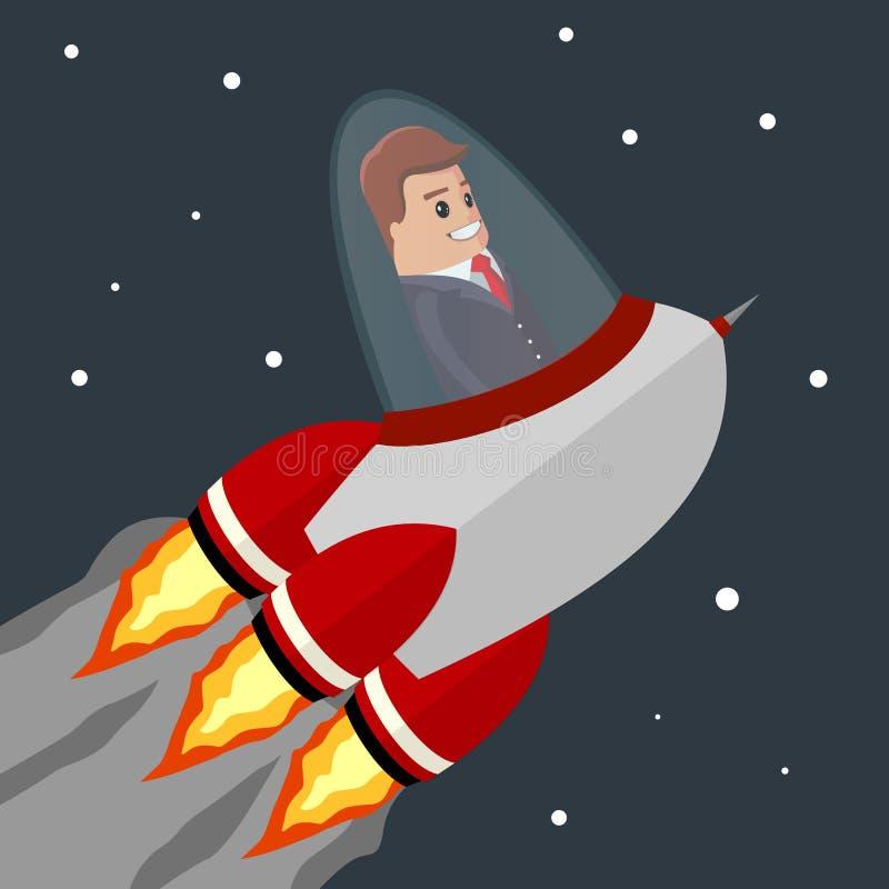 Διανυσματικό επιχειρησιακό άτομο Επίπεδη απεικόνιση Πύραυλος που πετά στο διάστημα Ξεκίνημα από τη γη Ευτυχής χαρακτήρας διευθυντ απεικόνιση αποθεμάτων