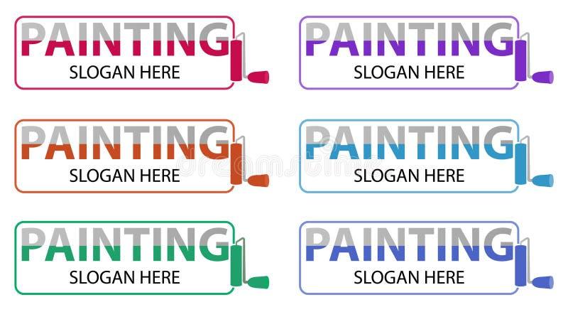 Διανυσματικό επιχειρησιακό λογότυπο ζωγραφικής Σχέδιο Logotype σχετικό με την επισκευή, την αναδιαμόρφωση ή τη ζωγραφική σπιτιών  διανυσματική απεικόνιση