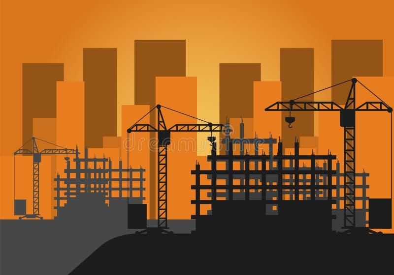 Διανυσματικό εργοτάξιο οικοδομής απεικόνισης απεικόνιση αποθεμάτων