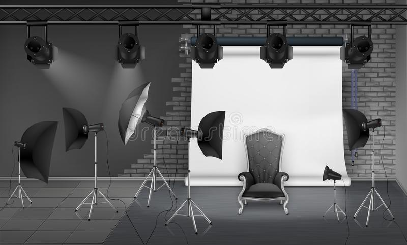 Διανυσματικό εσωτερικό στούντιο φωτογραφιών με την κενή πολυθρόνα ελεύθερη απεικόνιση δικαιώματος