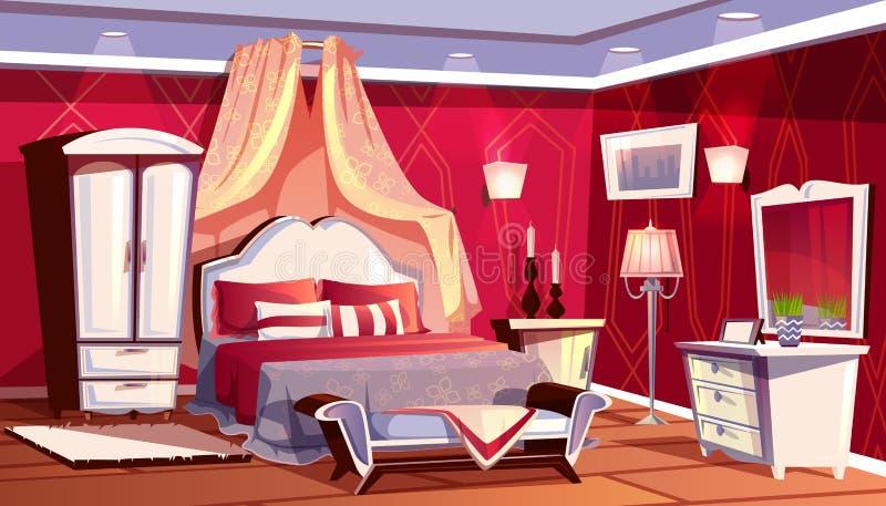Διανυσματικό εσωτερικό της πλούσιας κρεβατοκάμαρας, πολυτελές δωμάτιο διανυσματική απεικόνιση