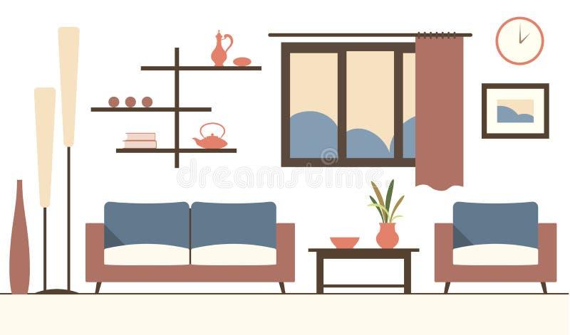 Διανυσματικό εσωτερικό χρώματος του minimalistic σύγχρονου καθιστικού κινούμενων σχεδίων απεικόνιση αποθεμάτων
