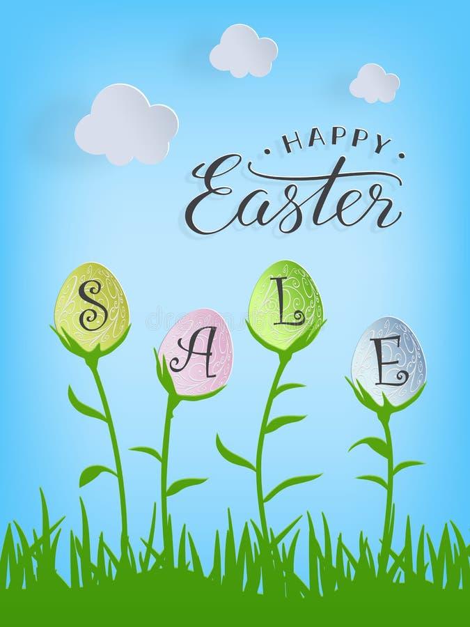 Διανυσματικό ευτυχές κείμενο πώλησης Πάσχας στα αυγά Πάσχας στο υπόβαθρο φύσης για την πασχαλινή ευχετήρια κάρτα διανυσματική απεικόνιση