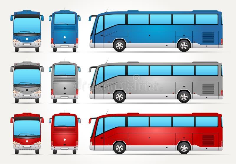 Διανυσματικό λεωφορείο - μέτωπο - πίσω - πλάγια όψη ελεύθερη απεικόνιση δικαιώματος