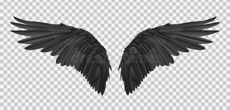Διανυσματικό ζευγάρι των μαύρων ρεαλιστικών φτερών στο διαφανές υπόβαθρο διανυσματική απεικόνιση