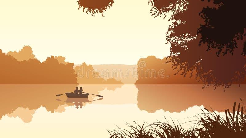 Διανυσματικό ζεύγος στη λίμνη ενάντια στο πορτοκαλί ηλιοβασίλεμα απεικόνιση αποθεμάτων