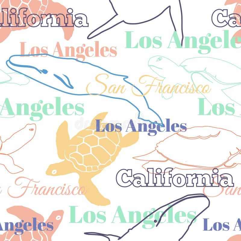 Διανυσματικό ζωηρόχρωμο άνευ ραφής σχέδιο ζώων πόλεων Καλιφόρνιας ταξιδιού με το Λος Άντζελες, το Σαν Φρανσίσκο, τις χελώνες, και απεικόνιση αποθεμάτων