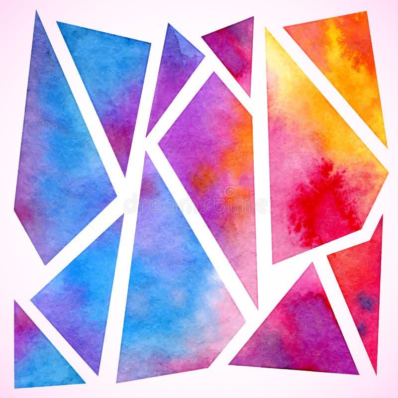 Διανυσματικό ζωηρόχρωμο γεωμετρικό υπόβαθρο watercolor απεικόνιση αποθεμάτων