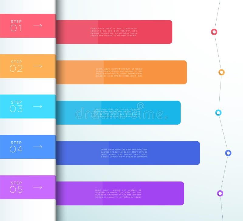 Διανυσματικό ζωηρόχρωμο διάγραμμα Infographic καταλόγων 5 βημάτων απεικόνιση αποθεμάτων