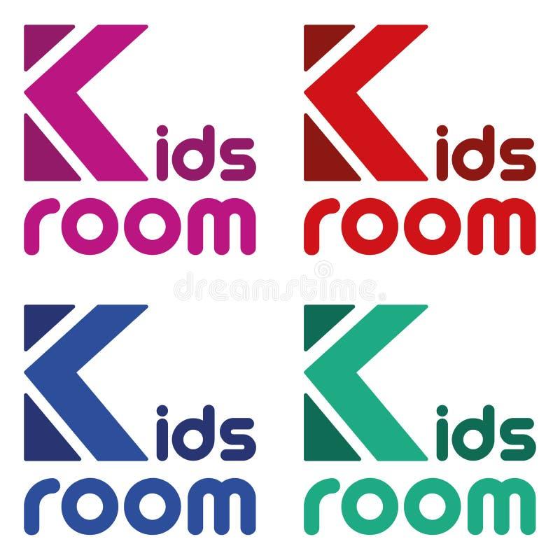 Διανυσματικό ζωηρόχρωμο δωμάτιο παιδιών λογότυπων Φωτεινή εύθυμη πηγή Αστεία σύμβολα για τα παιδιά διανυσματική απεικόνιση