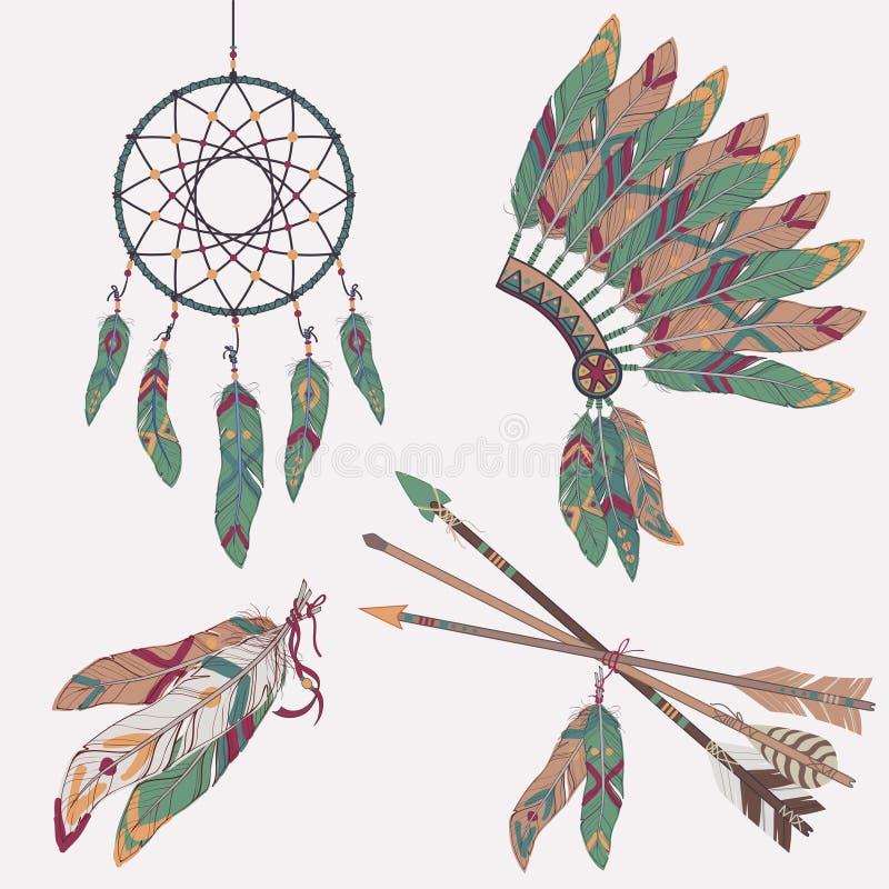 Διανυσματικό ζωηρόχρωμο εθνικό σύνολο με catcher ονείρου, φτερά, βέλη ελεύθερη απεικόνιση δικαιώματος