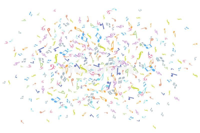 Διανυσματικό ζωηρόχρωμο στοιχείο υποβάθρου σημειώσεων μουσικής στο επίπεδο ύφος ελεύθερη απεικόνιση δικαιώματος