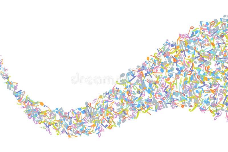 Διανυσματικό ζωηρόχρωμο στοιχείο υποβάθρου σημειώσεων μουσικής στο επίπεδο ύφος απεικόνιση αποθεμάτων