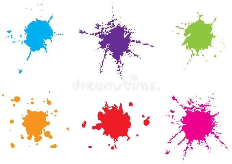 Διανυσματικό ζωηρόχρωμο χρώμα splatter καθορισμένος παφλασμός &ch Διάνυσμα illustrat ελεύθερη απεικόνιση δικαιώματος
