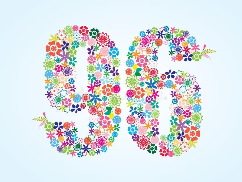 Διανυσματικό ζωηρόχρωμο Floral σχέδιο 96 αριθμού που απομονώνεται στο άσπρο υπόβαθρο Floral αριθμός ενενήντα έξι χαρακτήρας απεικόνιση αποθεμάτων