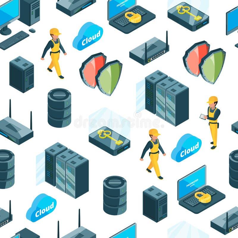 Διανυσματικό ηλεκτρονικό σύστημα του σχεδίου εικονιδίων κέντρων δεδομένων ή της απεικόνισης υποβάθρου διανυσματική απεικόνιση