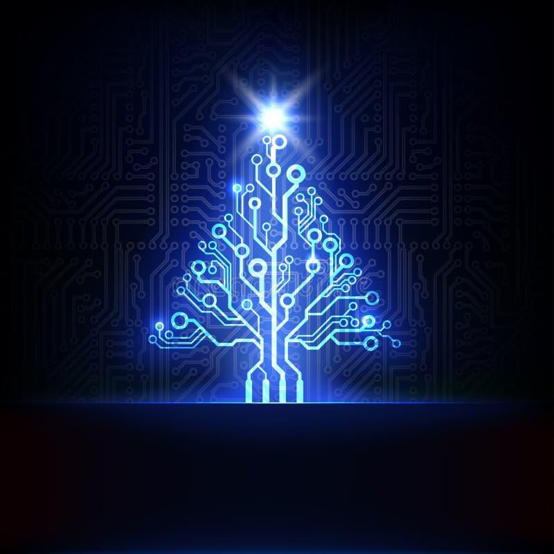Διανυσματικό ηλεκτρονικό χριστουγεννιάτικο δέντρο διανυσματική απεικόνιση