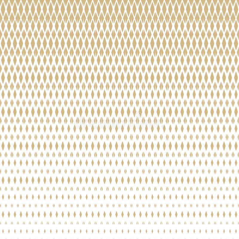 Διανυσματικό ημίτονο χρυσό άνευ ραφής σχέδιο με το εξασθενίζοντας πλέγμα, πλέγμα, καθαρό, δικτυωτό πλέγμα απεικόνιση αποθεμάτων