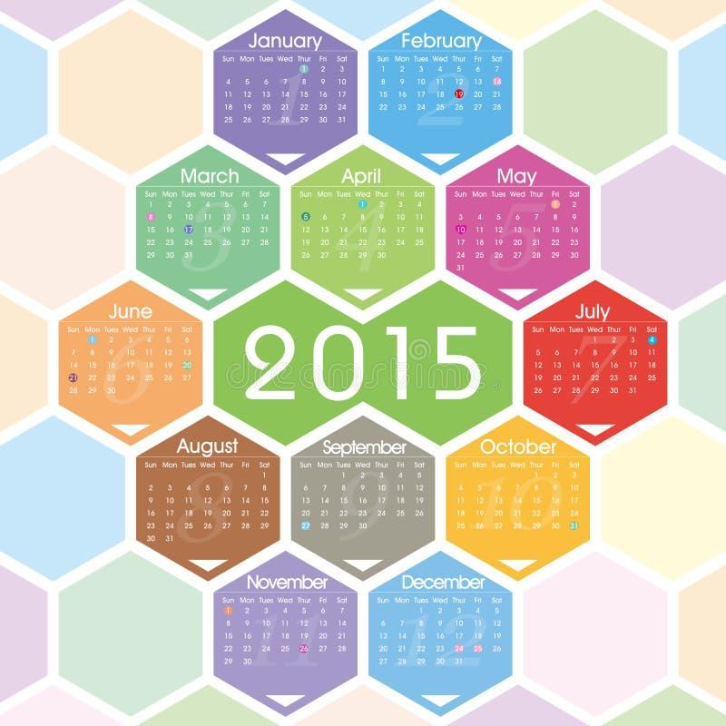 Διανυσματικό ημερολόγιο του 2015 διανυσματική απεικόνιση