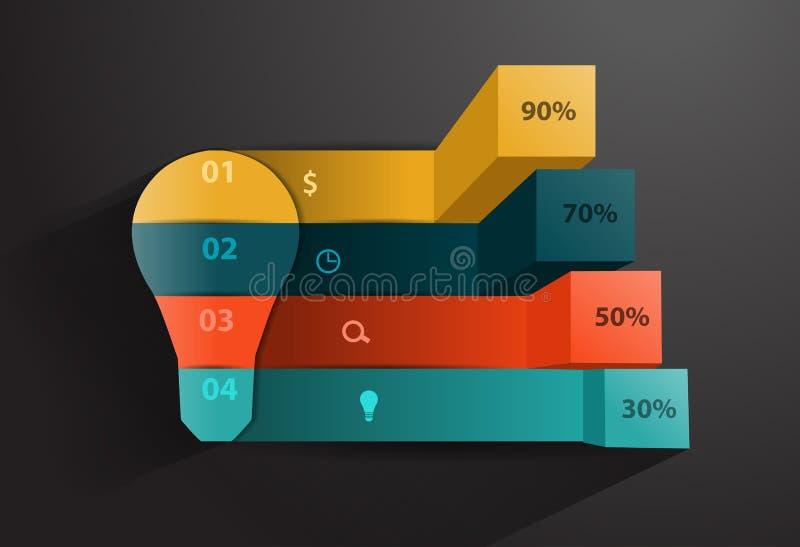 Διανυσματικό δημιουργικό έμβλημα ιδέας λαμπών φωτός απεικόνιση αποθεμάτων