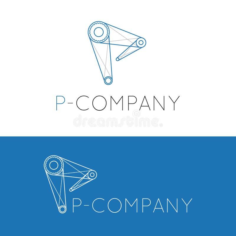 Διανυσματικό δημιουργικό λογότυπο γερανών επιστολών Π διανυσματική απεικόνιση