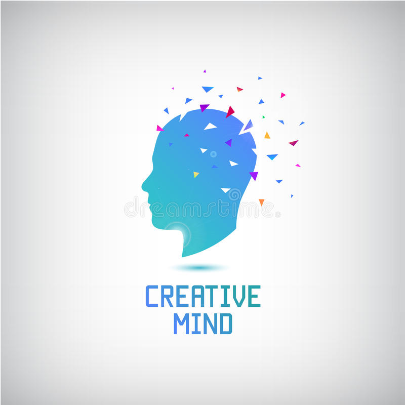 Διανυσματικό δημιουργικό λογότυπο μυαλού, επικεφαλής σκιαγραφία με τις σκέψεις και έξοδος ιδεών ελεύθερη απεικόνιση δικαιώματος